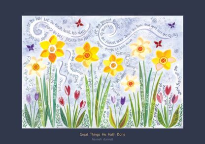 Hannah Dunnett Great Things He Hath Done greetings card US version