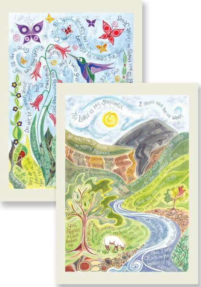Hannah Dunnett Psalm 23 and Do Not Worry Notecards updated USA version