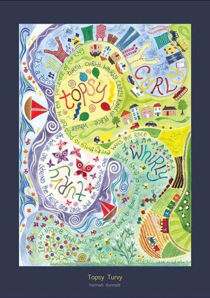 Hannah Dunnett Topsy Turvy greetings card US version