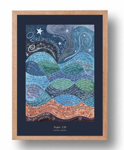 Hannah Dunnett psalm 139 US version Poster oak frame
