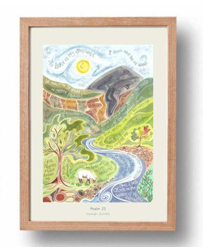 Hannah Dunnett psalm 23 US version Poster oak frame