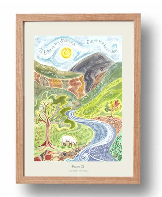 Hannah Dunnett psalm 23 US version Poster oak frame