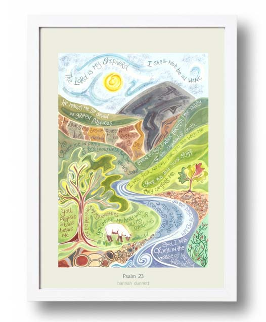Hannah Dunnett psalm 23 US version Poster white frame