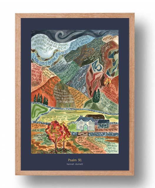 Hannah Dunnett psalm 91 US version Poster oak frame