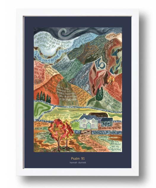 Hannah Dunnett psalm 91 US version Poster white frame