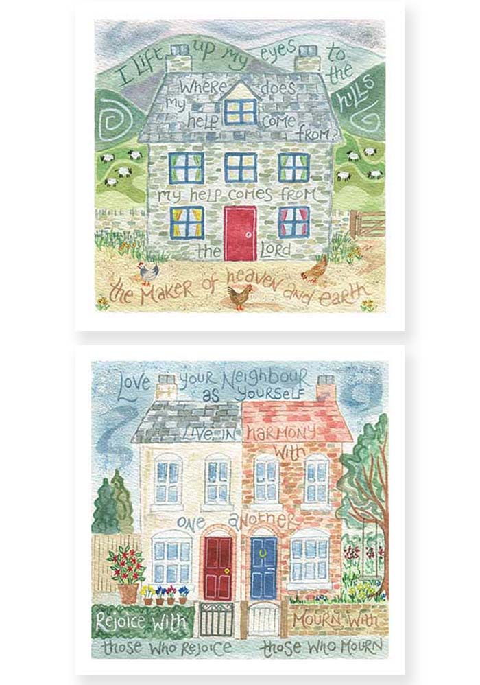 Hannah Dunnett I Lift Up My Eyes and Love Your Neighbour Notecards USA version
