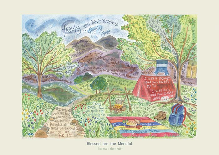 Hannah Dunnett Blessed are the merciful greetings card US version