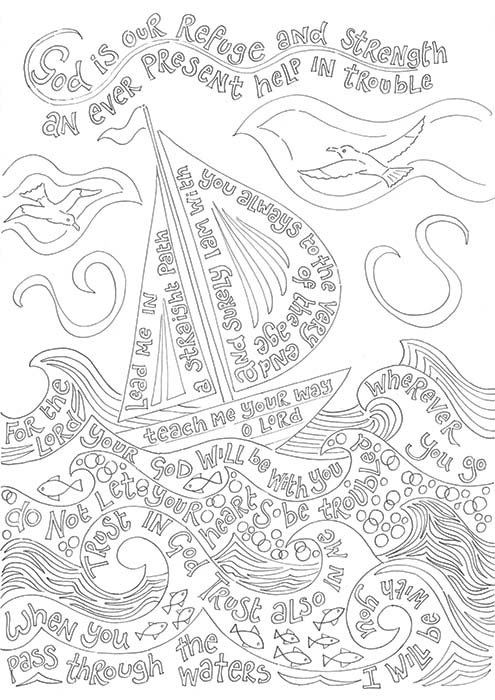 Hannah Dunnett God is our refuge coloring book image US version