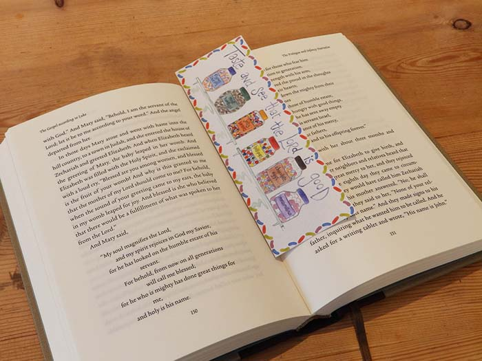 Hannah Dunnett Taste and See bookmark on book US version
