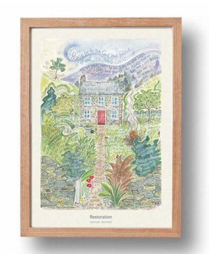 Hannah Dunnett Restoration A3 Poster oak frame