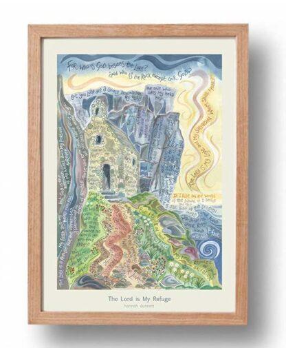 Hannah Dunnett The Lord is My Refuge Poster oak frame