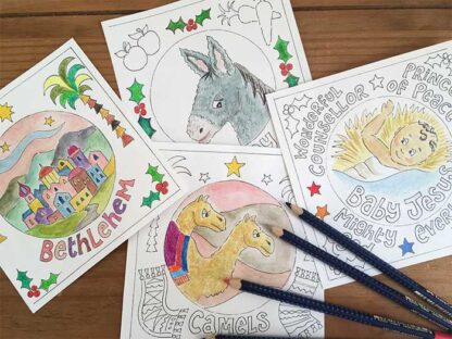 Hannah Dunnett Christmas Colouring Cards coloured in pictures