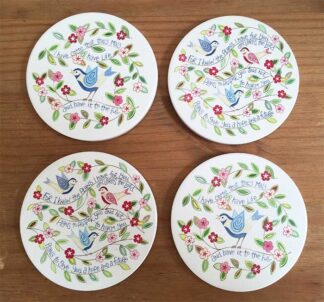 Hannah Dunnet Birds Coasters pack of 4