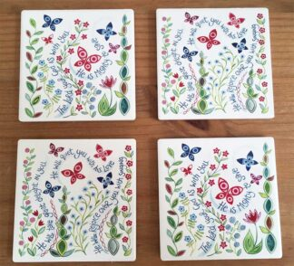 Hannah Dunnet flowers Coasters pack of 4