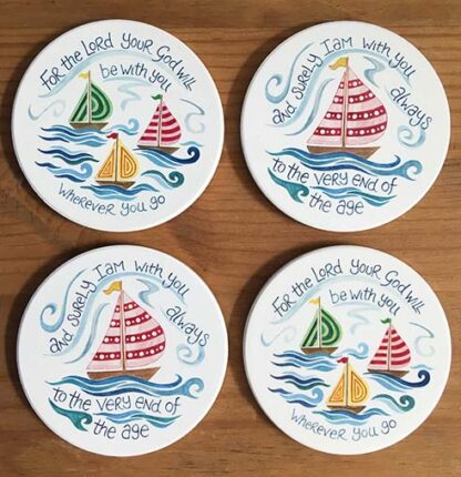 Hannah Dunnett Boats Coasters pack of 4 image