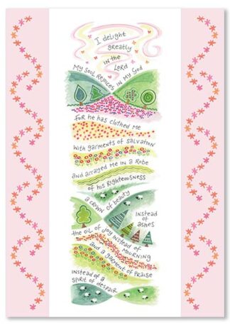 Hannah Dunnett Garment of Praise greetings card USA version
