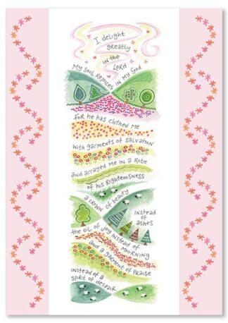 Hannah Dunnett Garment of Praise greetings card USA version