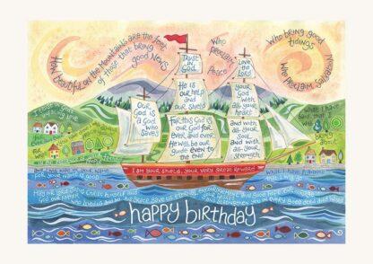 Hannah Dunnett Happy Birthday Card Tall Ship Design USA version