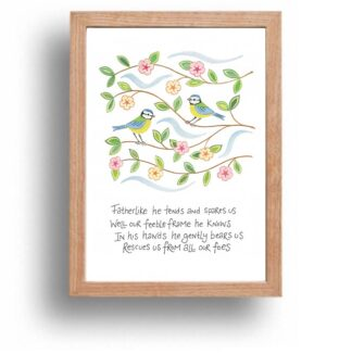 Hannah Dunnett He Gently Bears Us print wood frame USA version