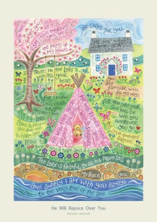 Hannah Dunnett He Will Rejoice Over You greetings card and poster USA version