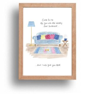 Hannah Dunnett I Will Give You Rest print wood frame USA version
