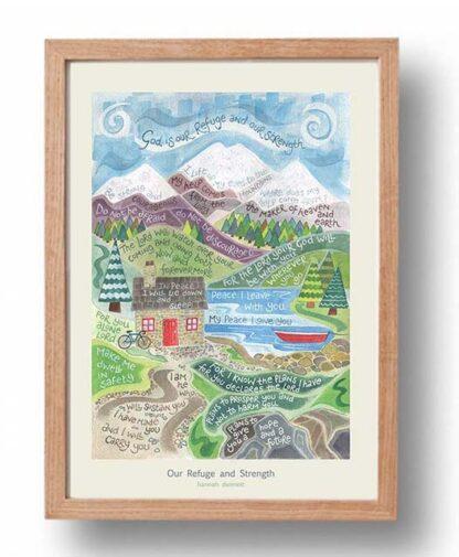 Hannah Dunnett Our Refuge and Strength Poster oak frame USA version