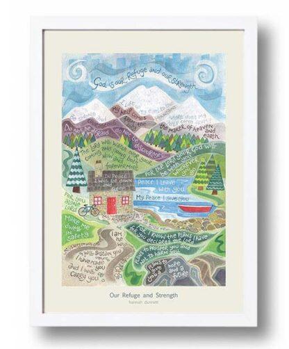 Hannah Dunnett Our Refuge and Strength Poster white frame USA version