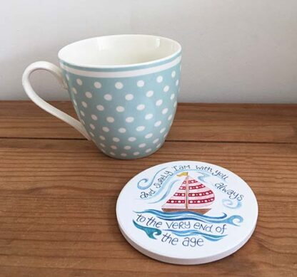 Hannah Dunnett boats coaster with mug image