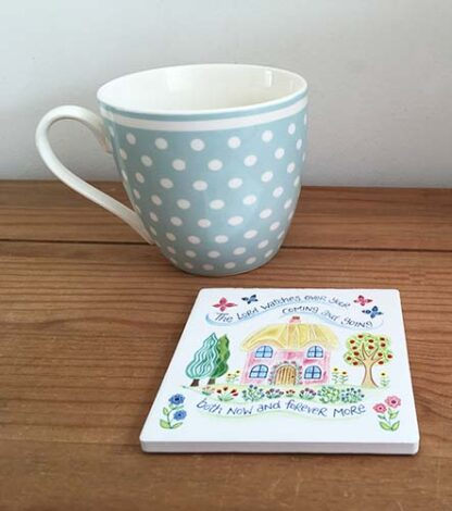 Hannah Dunnett houses coaster with mug image