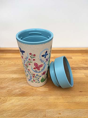 Hannah Dunnett reusable mug top view with lid removed