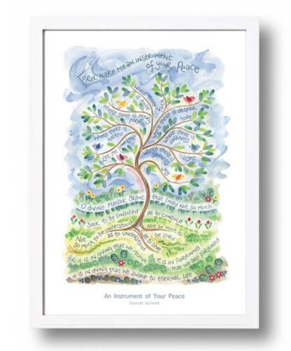 Hannah Dunnett An Instrument of Your Peace A3 Poster white frame