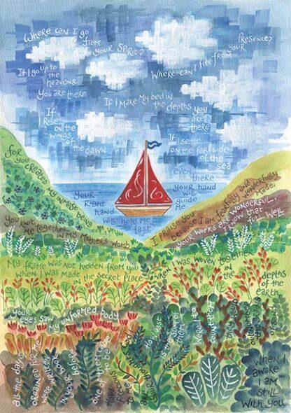 Hannah Dunnett Psalm 139 Boat Image greetings card