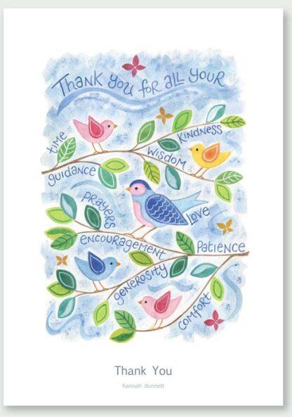 Hannah Dunnett Thank You Birds Design greetings card