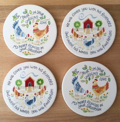 Hannah Dunnett Unfailing Love and Under His Wings Coasters pack of 4 image