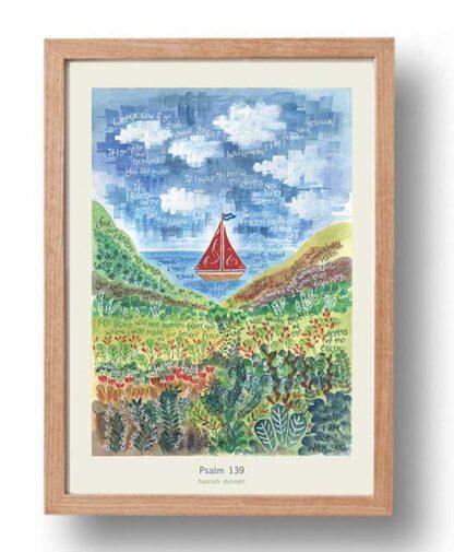 Hannah Dunnett psalm 139 boat image A3 Poster oak frame