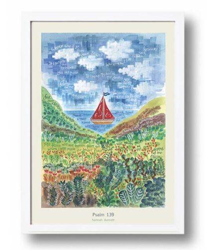 Hannah Dunnett psalm 139 boat image A3 Poster white frame