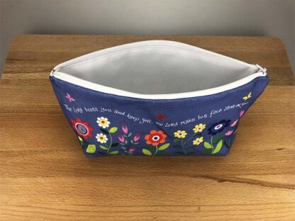 Hannah Dunnett Bless You and Keep You Cosmetic Bag top view