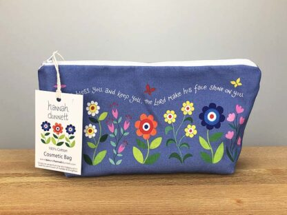 Hannah Dunnett Bless You and Keep You Cosmetic Bag with label
