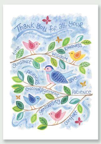 Hannah Dunnett Thank You Birds design Notecard